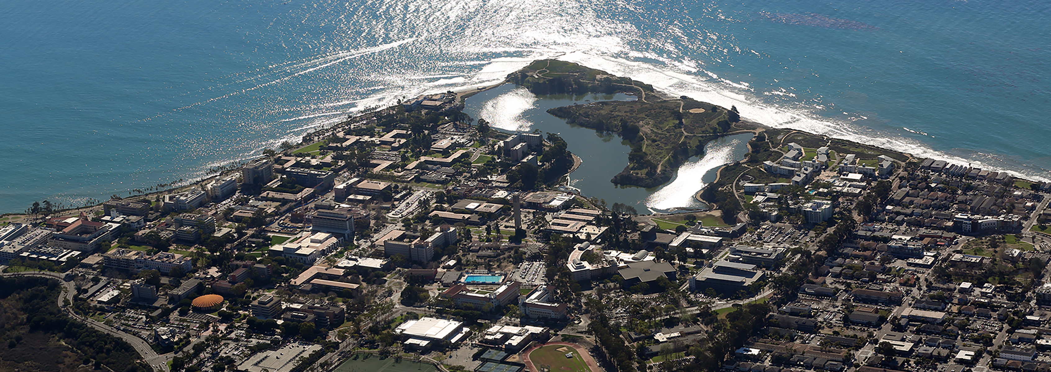 UCSB Campus Point sun reflecting ocean