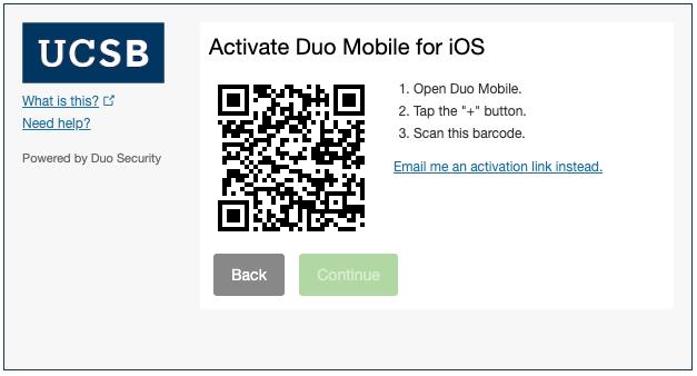Duo QR code activation