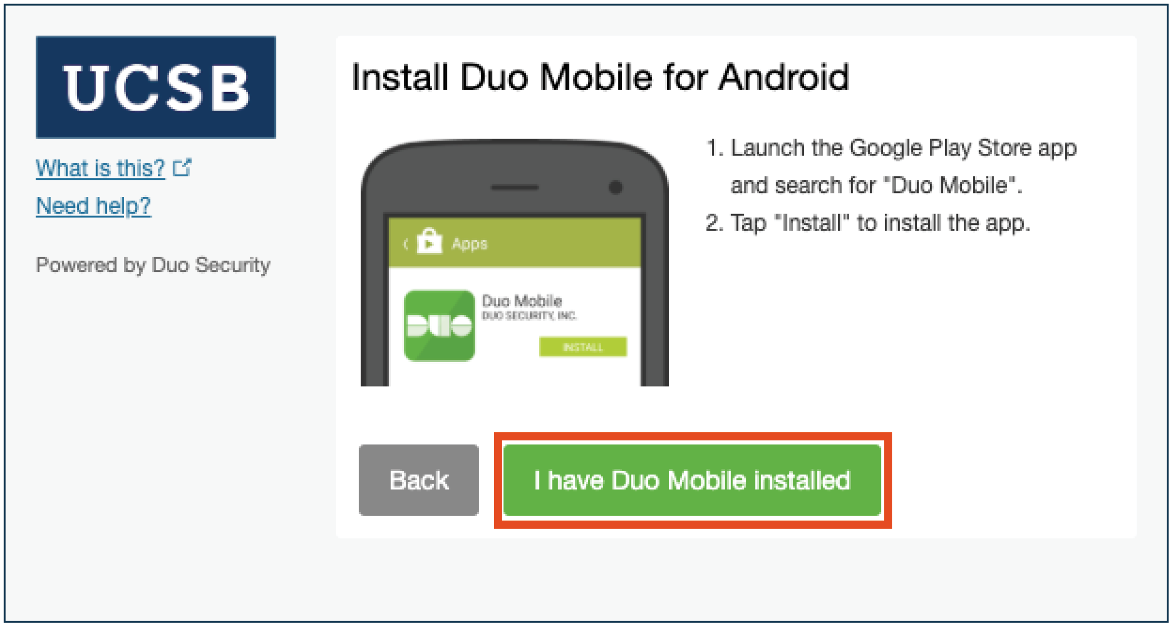 Duo Mobile app installed selection