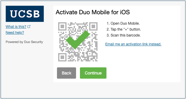 green check mark Duo QR code